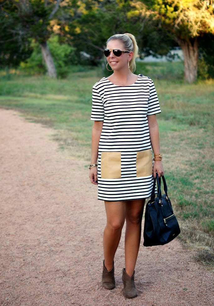 stripe dress with leather pockets