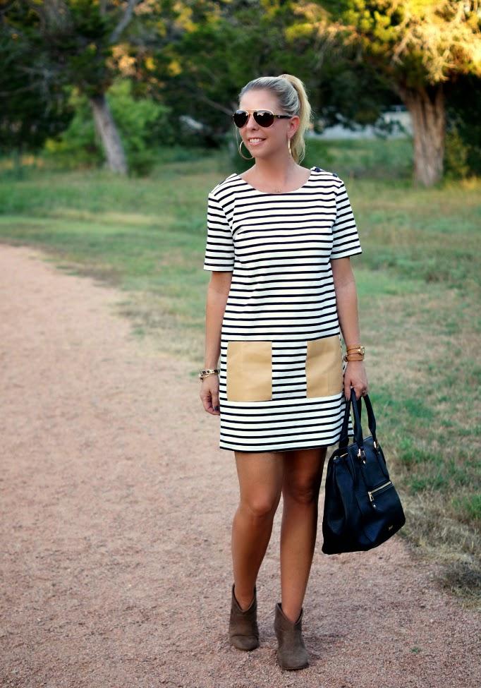 stripe dress with leather pockets