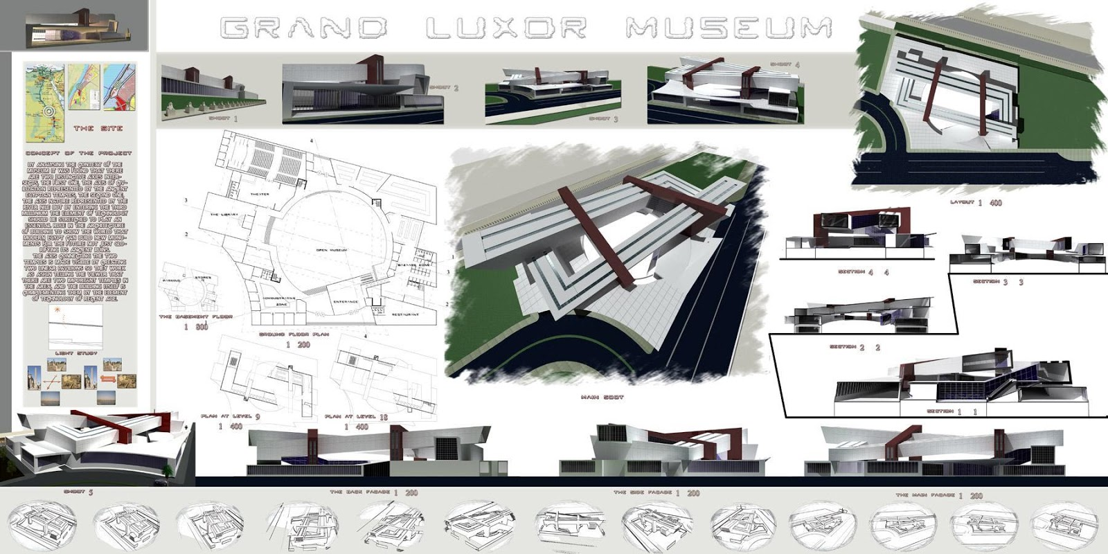 Poster design architecture - Graduation Project Grand Luxor Museum Architectural Poster