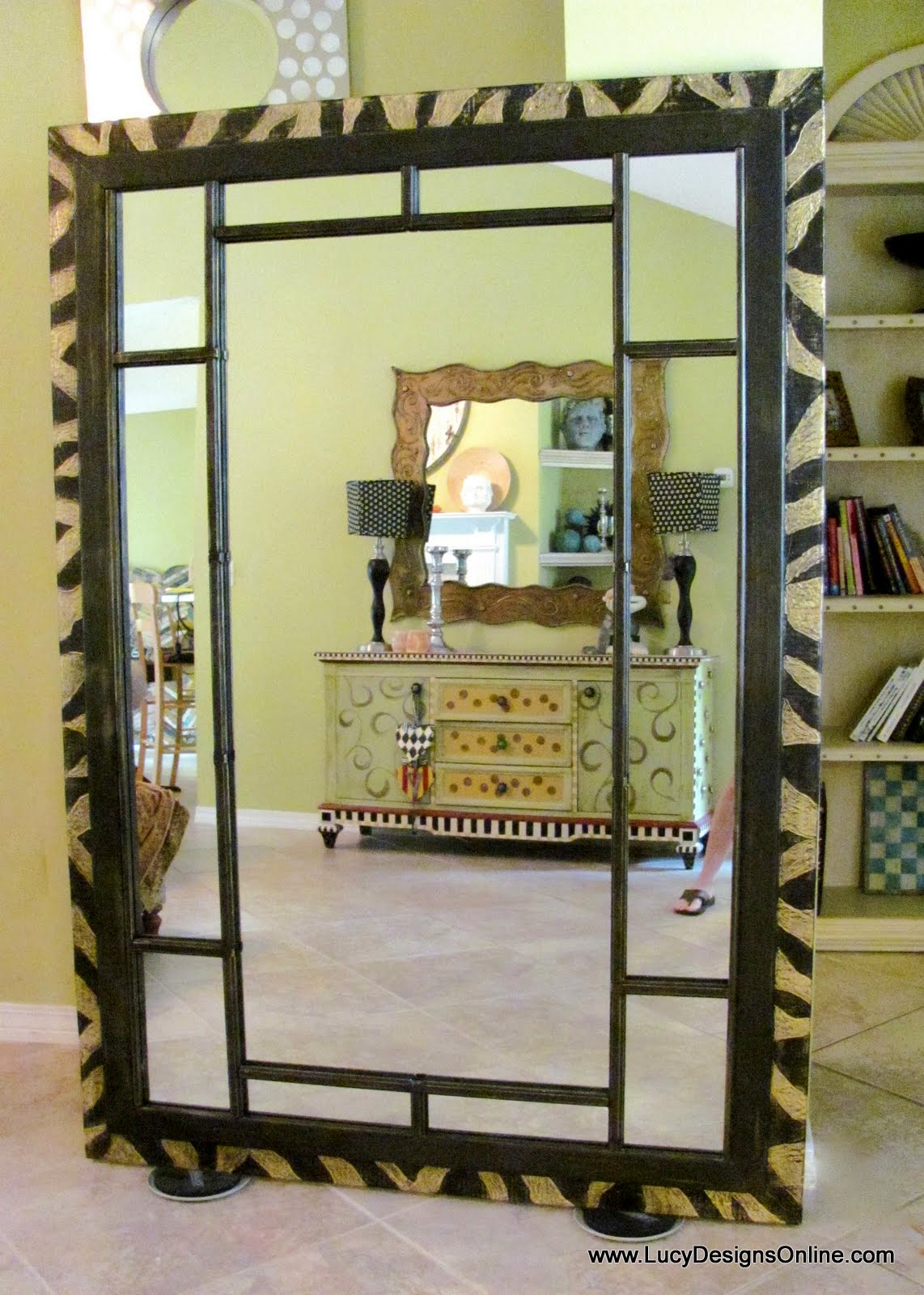 Dremel Carved Zebra Pattern on 6 Foot Wood Leaner Mirror Frame, DIY ...