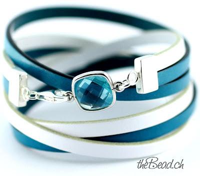 Damen Lederarmband mit Blau Weiss und Aquamarin Glaskristall