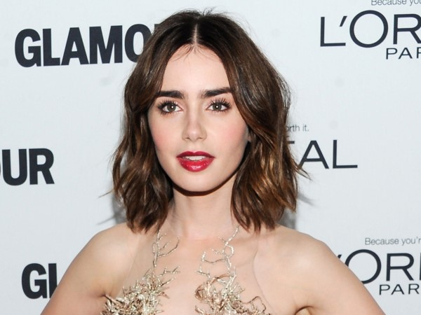 Lily Collins Dark Berry Lips Big Eyebrows