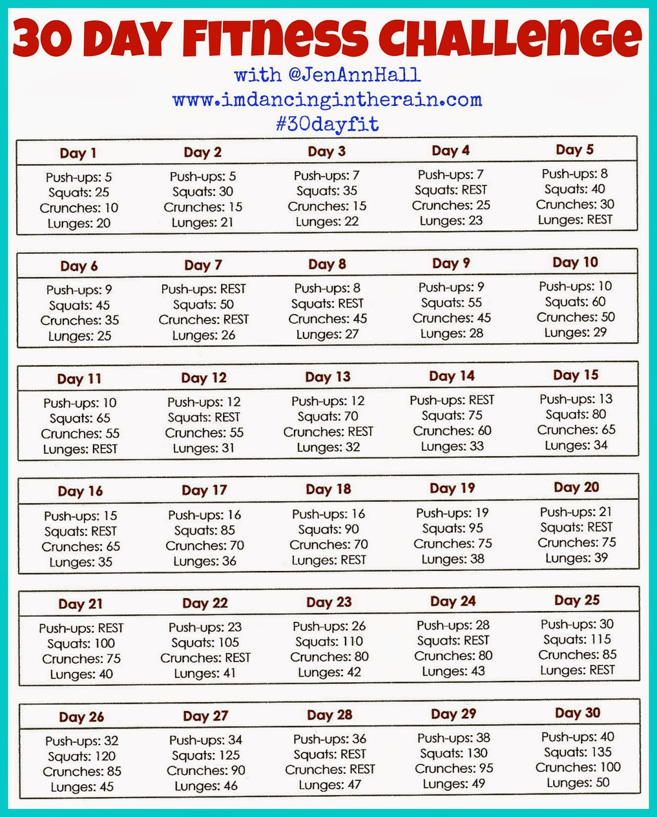 Dancing in the Rain: 30 Day Fitness Challenge