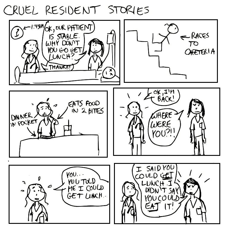 A Cartoon Guide to Becoming a Doctor: Cruel Resident Stories: Lunch