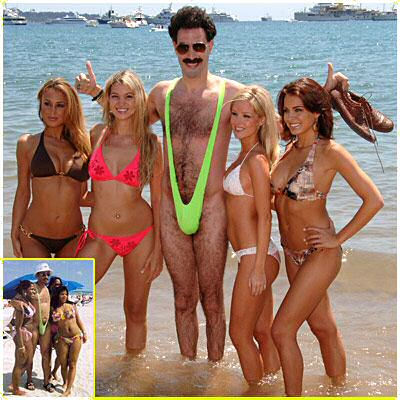 Borat wearing his mankini costume promoting the movie at a beach in Cannes, France