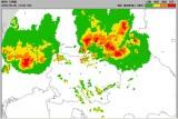 Radarska slika padavin nad Slovenijo