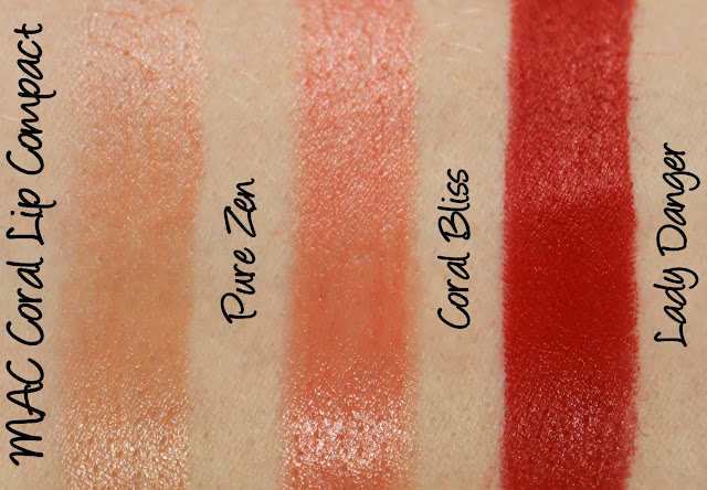 MAC Enchanted Eve - Coral Lip Palette Swatches & Review