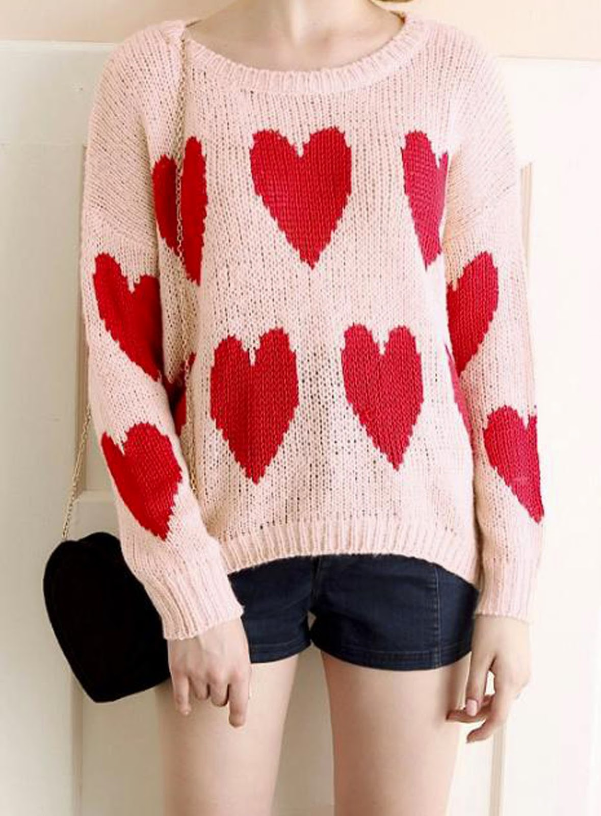 Tidestore Pink Sweetheart Print Sweater
