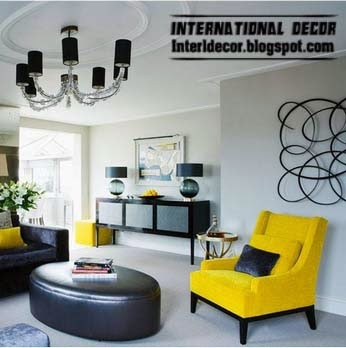 black leather banquette and yellow chair