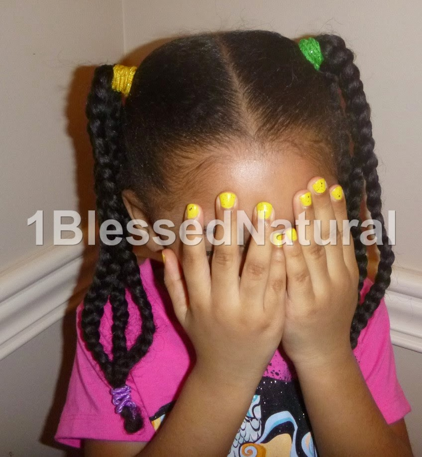 Copyright 2015 1BlessedNatural: front view of Little Sister Natural's banded braids