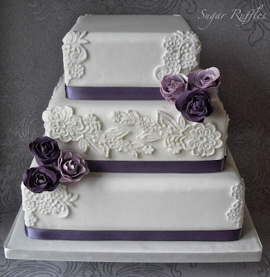 purple lavendar and white wedding cake