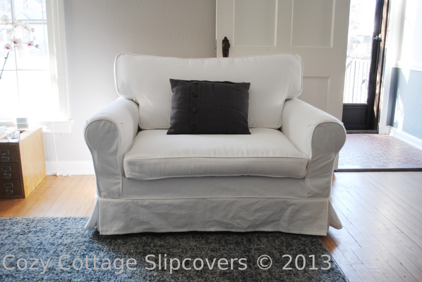 Genial Brushed Canvas Chair And A Half Slipcover