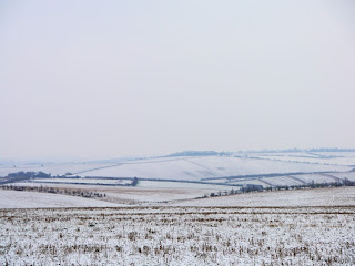 Snow covered landscape near the Uffington White Horse on the Ridgeway National Trail