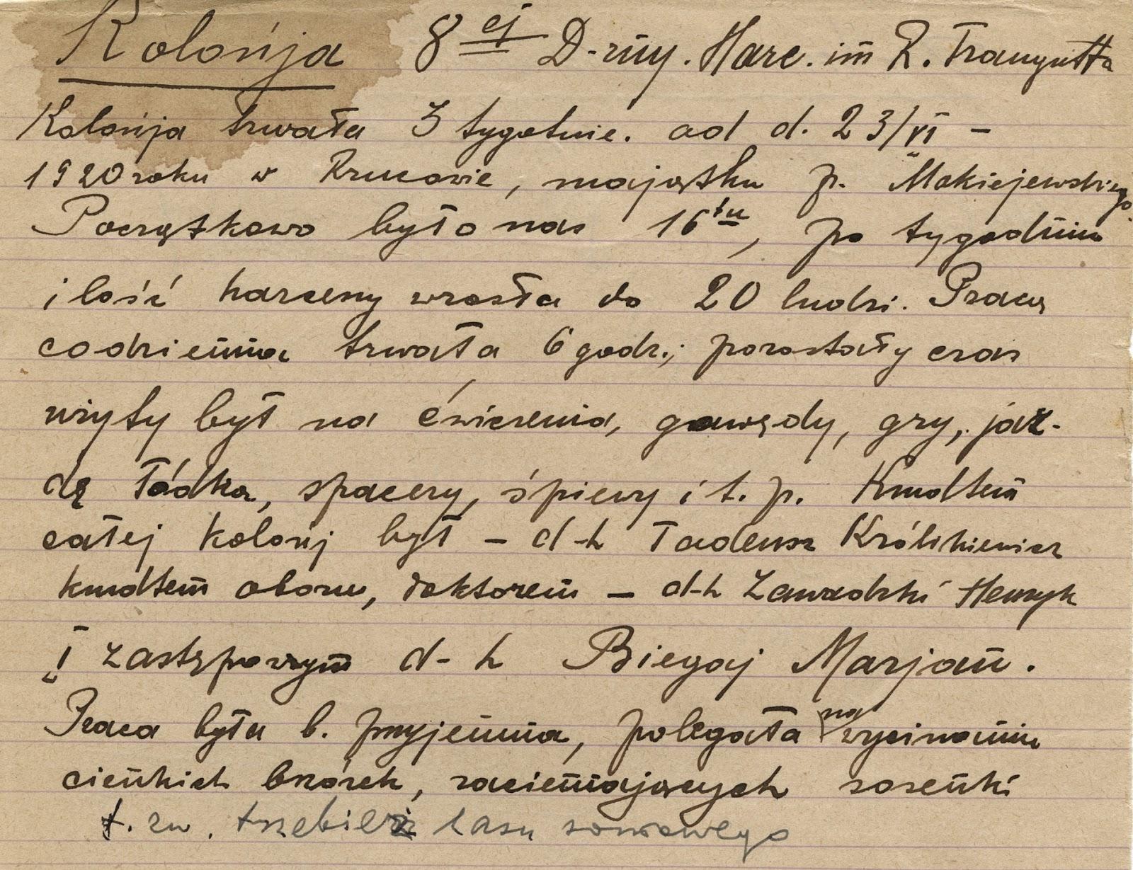 Zachowana notatka Henryka Seweryna Zawadzkiego o kolonii w Rzucowie, w zbiorach KW.