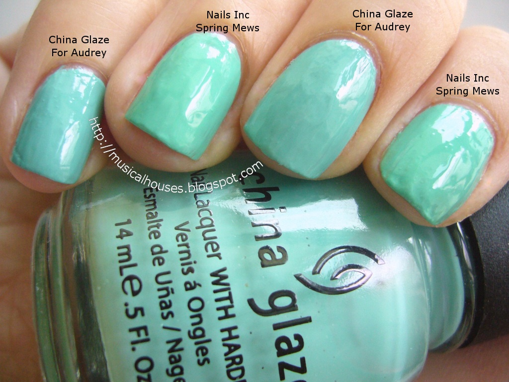 Spring aqua nail polish comparisons china glaze and nails inc l r china glaze for audrey nails inc spring mews china glaze for audrey nails inc spring mews nvjuhfo Gallery