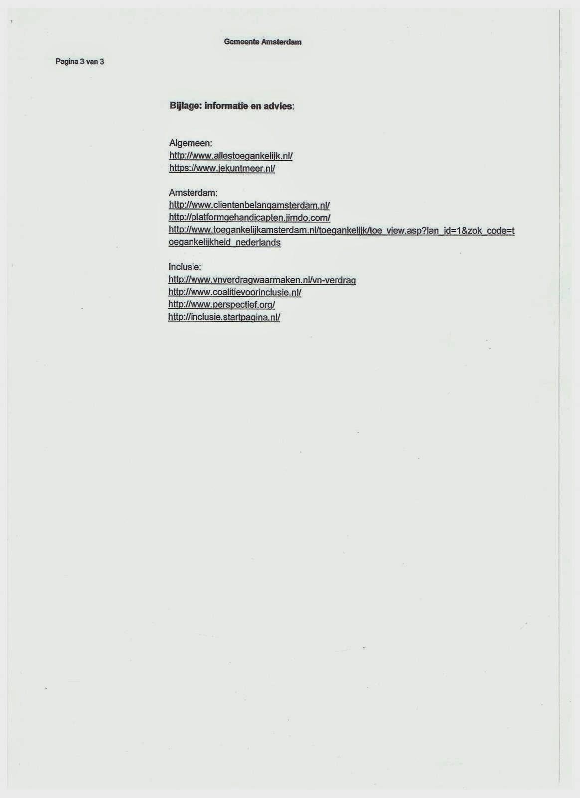 2014 Brief wethouder zover toegankelijkheid is verstuurd