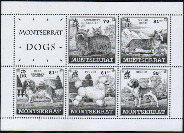 1999年モントセラト ヨークシャー・テリア ウェルシュ・コーギー・カーディガン キング・チャールズ・スパニエル プードル ビーグルの切手シート