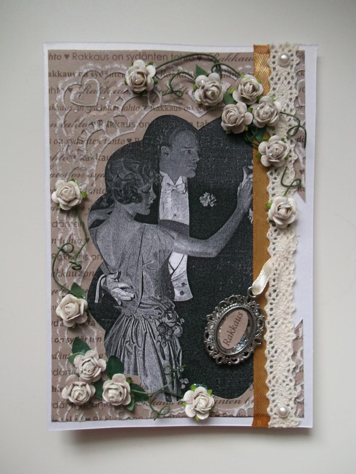 kuva naisesta ja miehestä tanssimassa, hääkortti