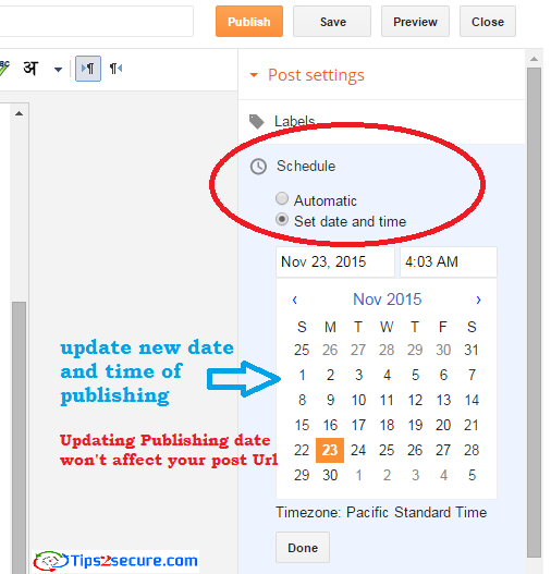 Update older posts with new publishing date to rank in SERP