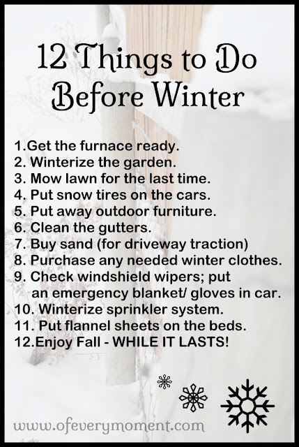 This infographic list will help you remember to complete some of the tasks that need to be done before winter.
