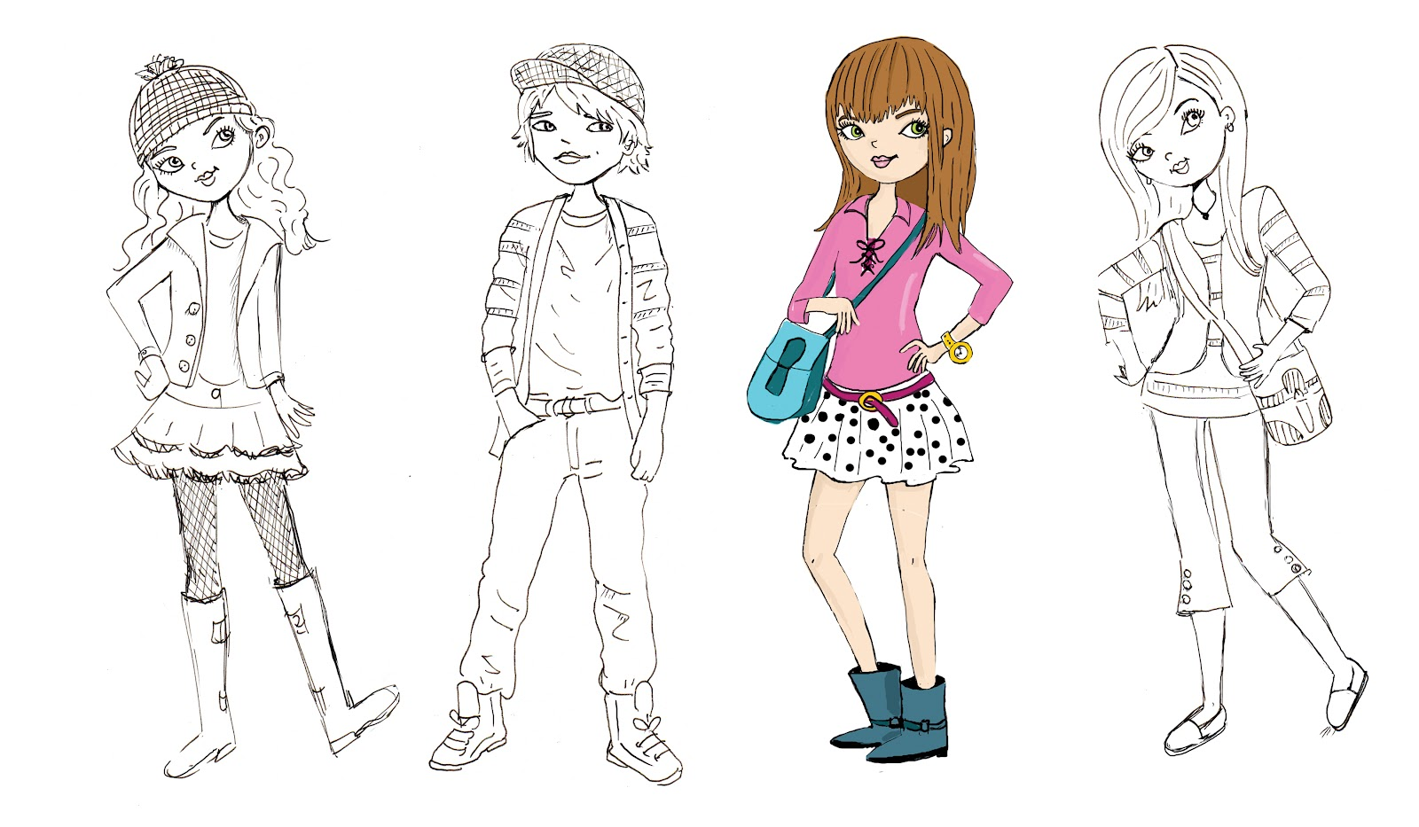 Kids Fashion Illustration Figures