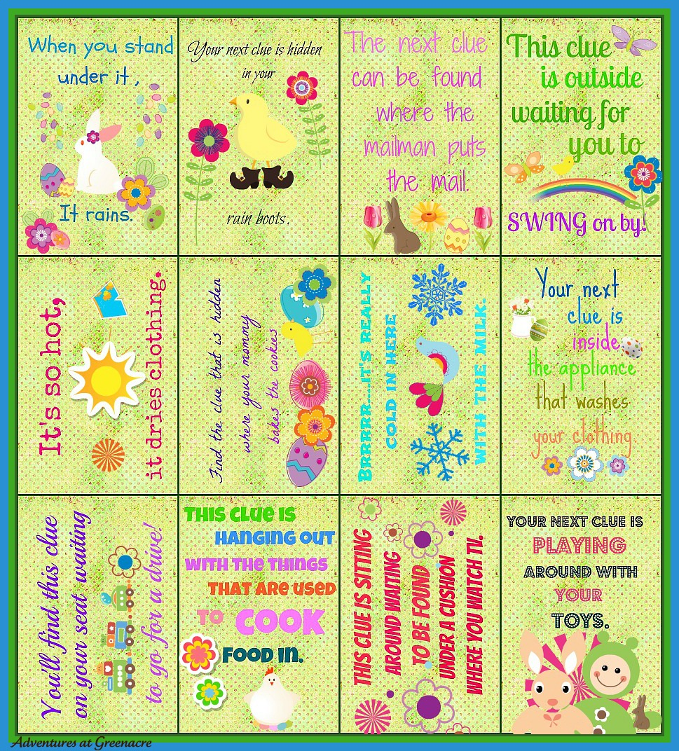image relating to Printable Easter Egg Hunt Clues called Adventures at Greenacre: Cost-free Easter egg hunt clues printable