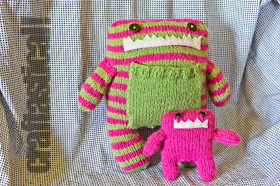 Momma and Baby knit monsters, using pattern by Rebecca Danger of Danger Crafts