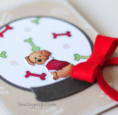 Snowglobe card using Canine Christmas by Shelly Mercado for Newton's Nook Designs