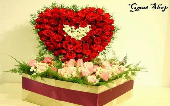 Mẫu hoa sinh nhật kết hình trái tim