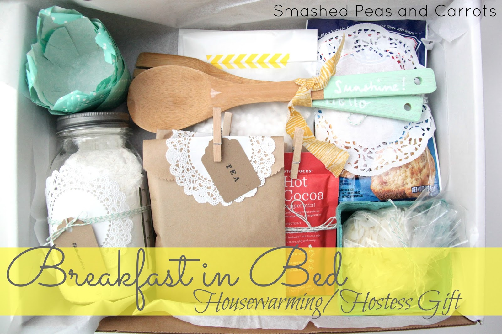 Breakfast in bed housewarming hostess gift idea smashed Hostess gift