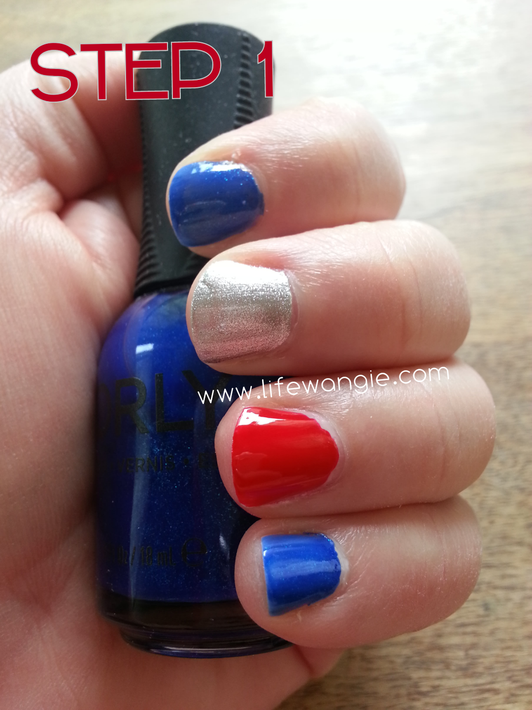 The nails are alternating in red, blue and silver.