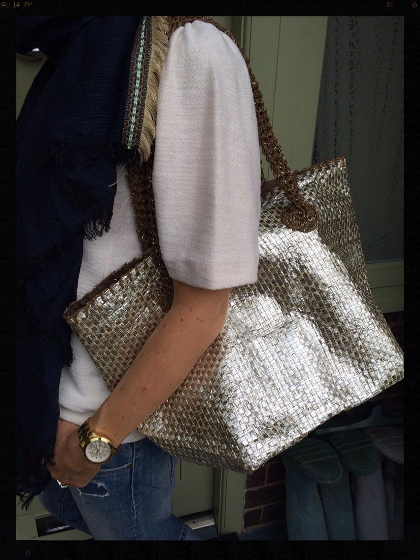 My Midlife Fashion, Zara, Mango, Damart, Metallic straw bag