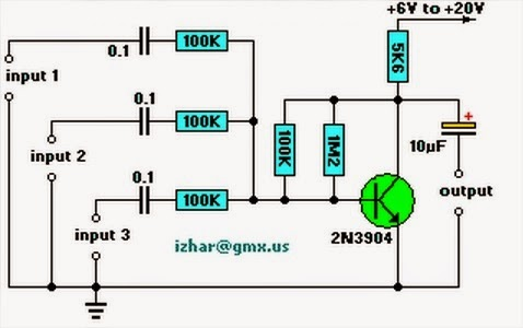 Three Channel Audio Mixer circuit diagram