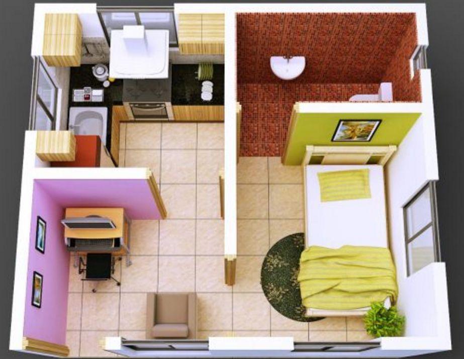 sketsa denah interior rumah type 36 3 dimensi terkini