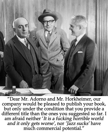 adorno horkheimer culture industry thesis Explain t adorno and m horkheimers critique of the culture industry and discuss whether these are still relevant for understanding cultural production today - essay.