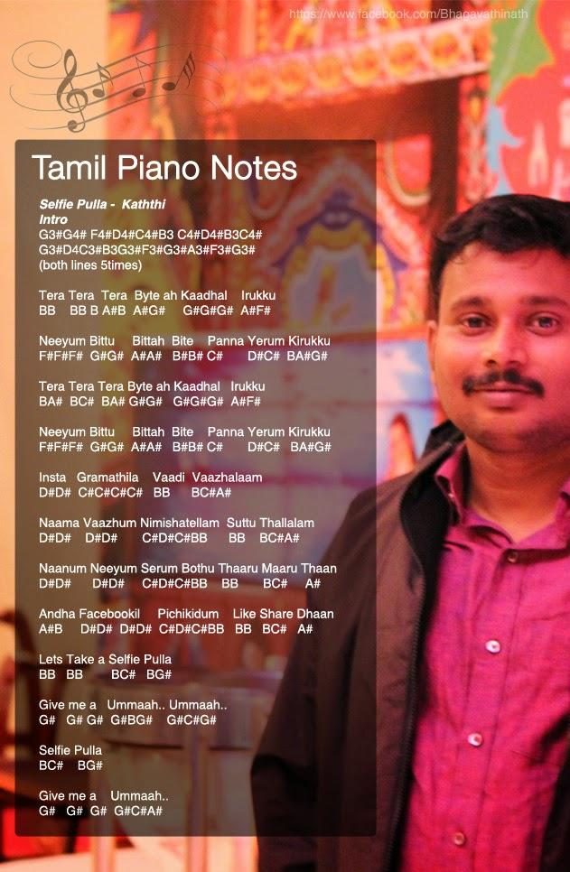 Tamil Piano Notes: Kaththi - Selfie Pulla