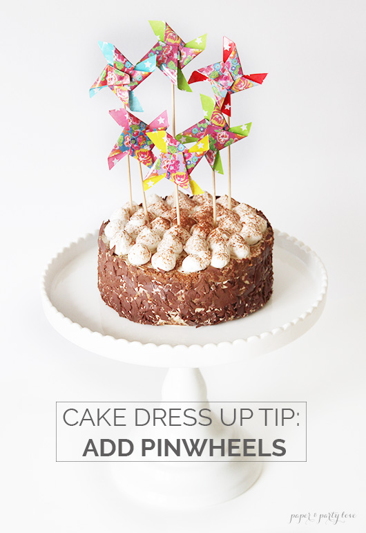 Dress up a store bought cake with pinwheels