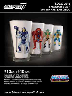 San Diego Comic-Con 2015 Exclusive Masters of the Universe Villains Pint Glasses - Skeletor, Beastman, Tri-Klops & Mer-Man