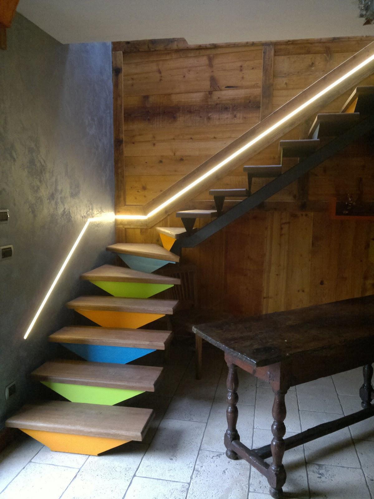 Scala in pietra serena interna - Illuminazione scale a led ...