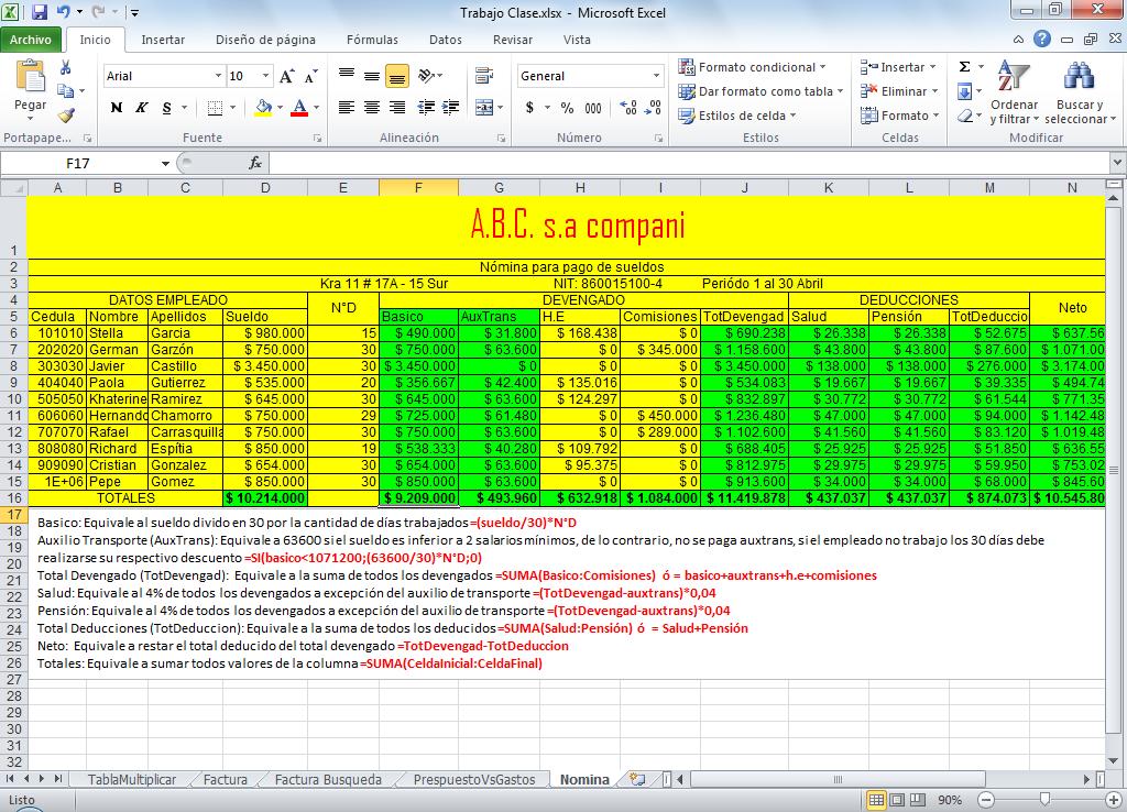 Nomina En Excel Formulas Excel Funciones De Excel Nomina