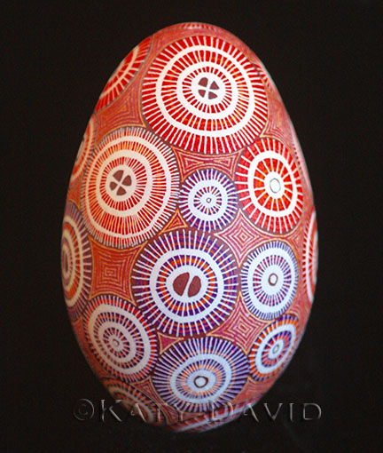 "©Katy David, ""Red Spools"" 2015, Goose egg modern pysanky"