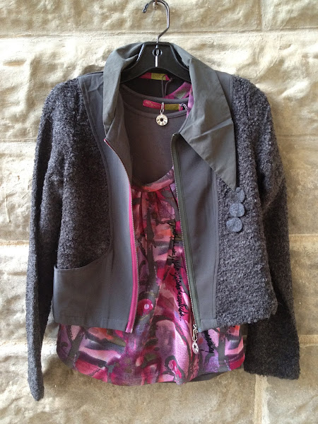 Grey boucle jacket with printed tee