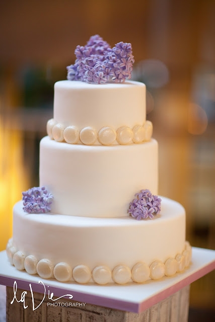 Minneapolis Wedding Cake Accented with French Macarons