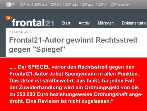 ZDF Frontal21 in eigener Sache