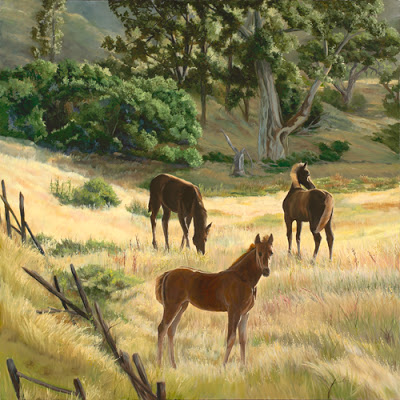 Horses - Oil on Canvas by Laura Curtin