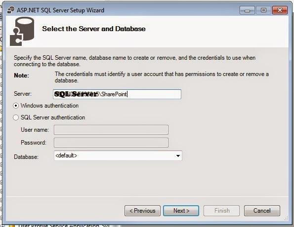 Create Membership Database wizard SQL