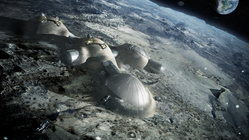 3D Printing Technology, European Space Agency, Foster + Partners, habitat on the moon, lunar soil, regolith
