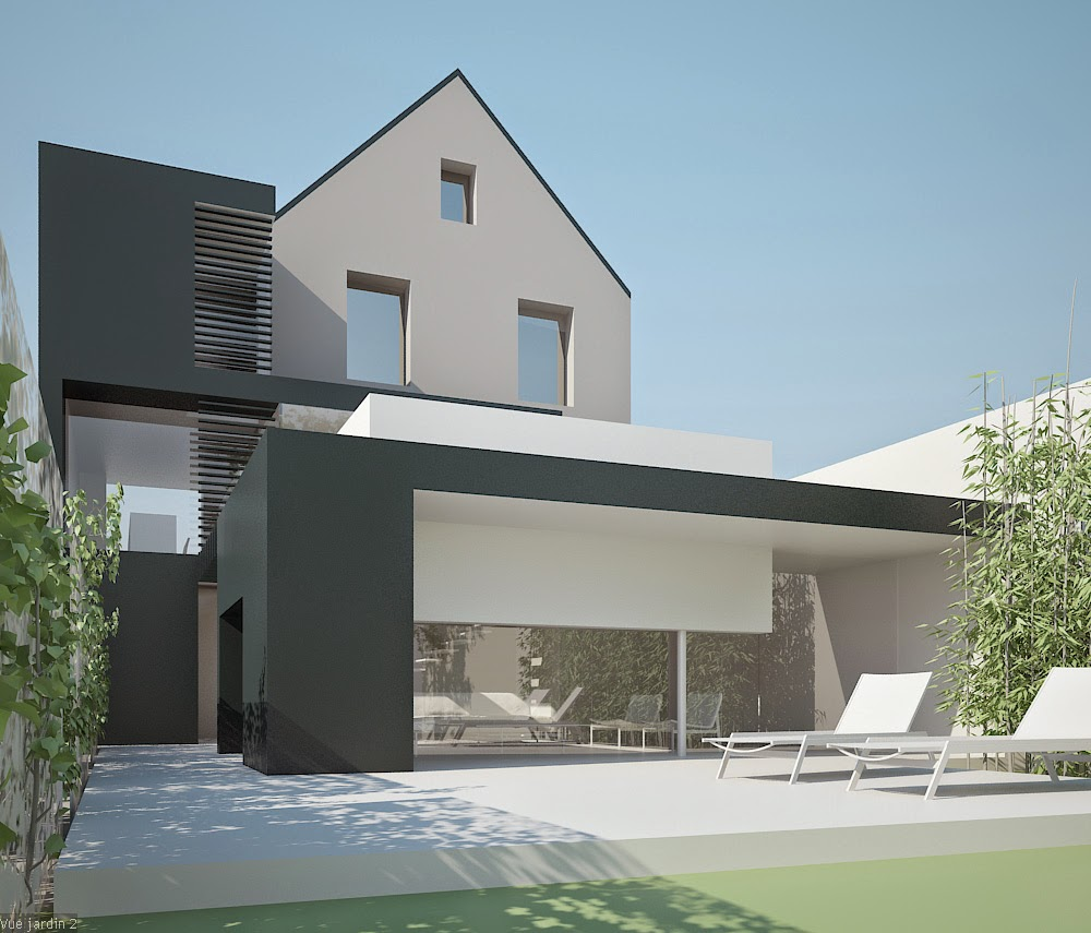 Plan extension maison plain pied for Maison d architecte plan
