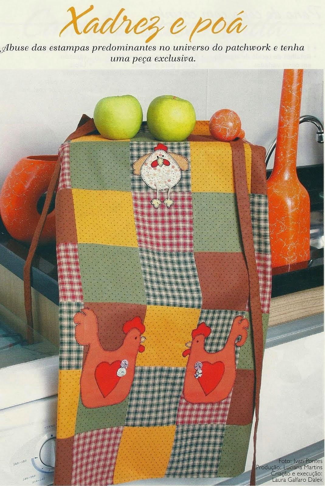 Moldes avental em patchwork com galinhas