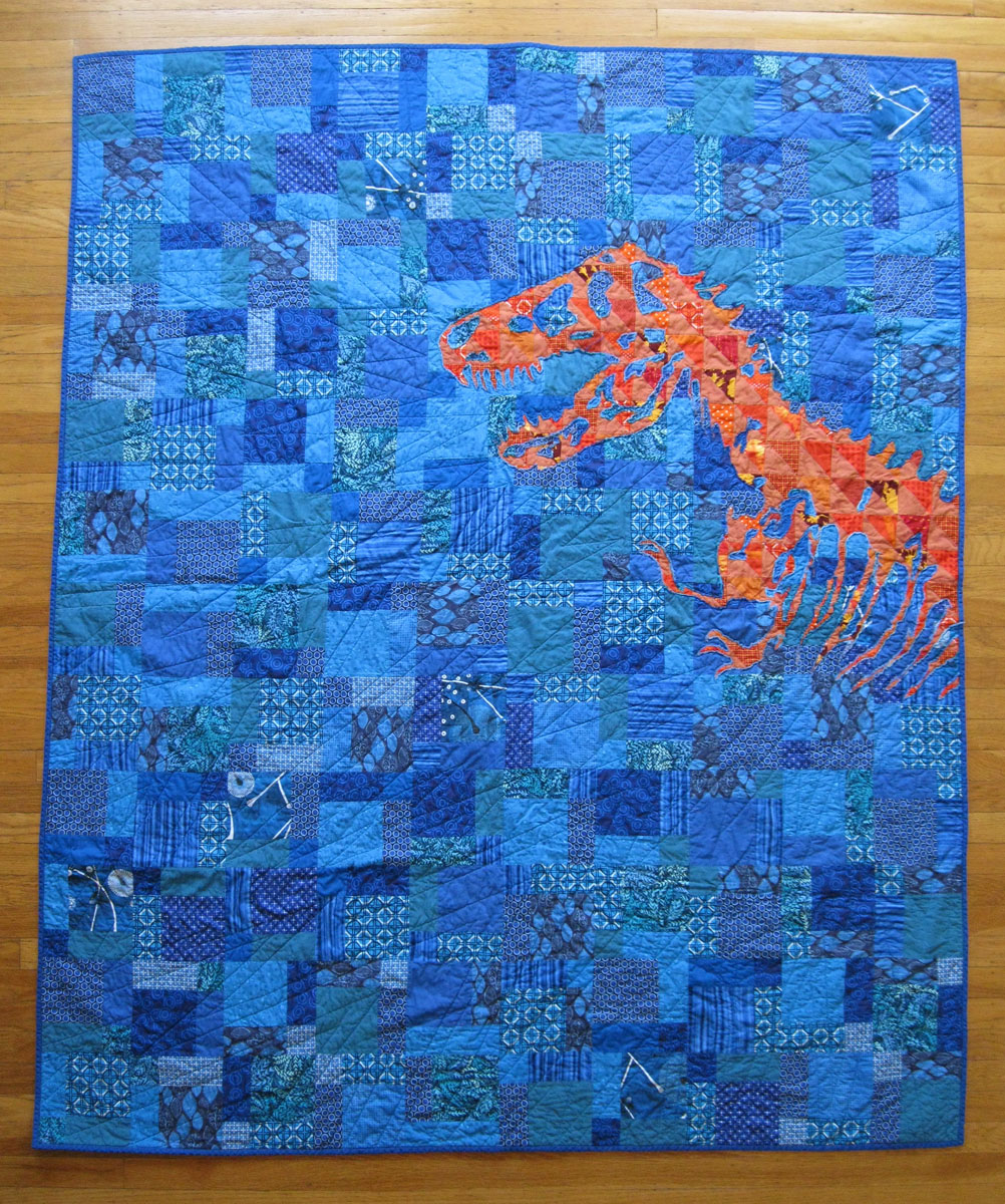 Piece and Press: Hero's nemesis; or, the orange lizard : blue and orange quilt - Adamdwight.com